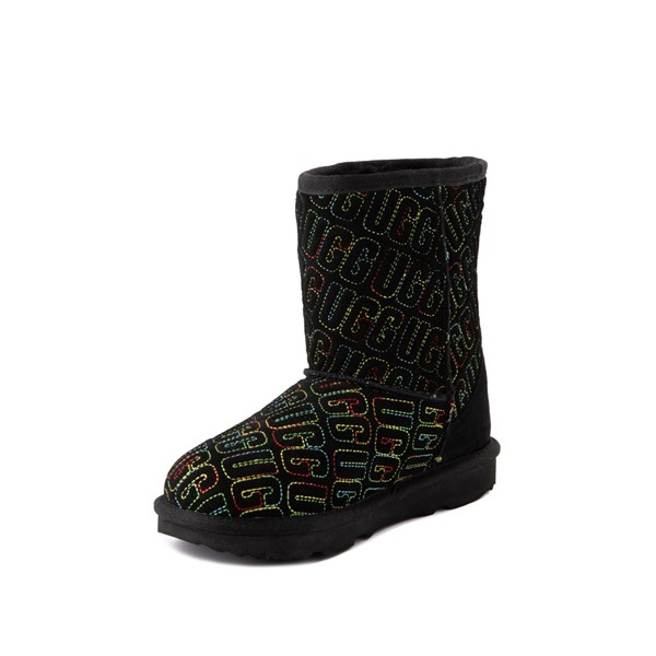 alternate view UGG® Classic II Graphic Stitch Boot - Little Kid / Big Kid - Black / RainbowALT3