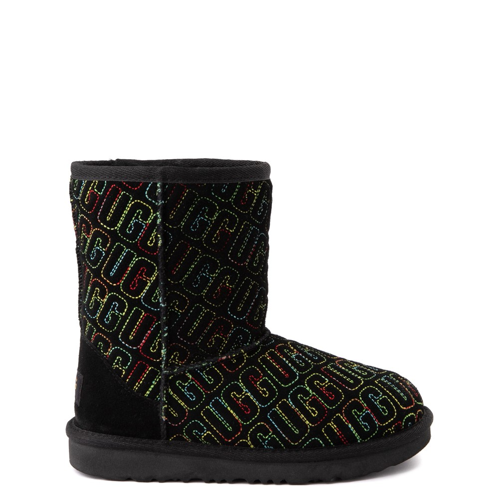 UGG® Classic II Graphic Stitch Boot - Little Kid / Big Kid - Black / Rainbow