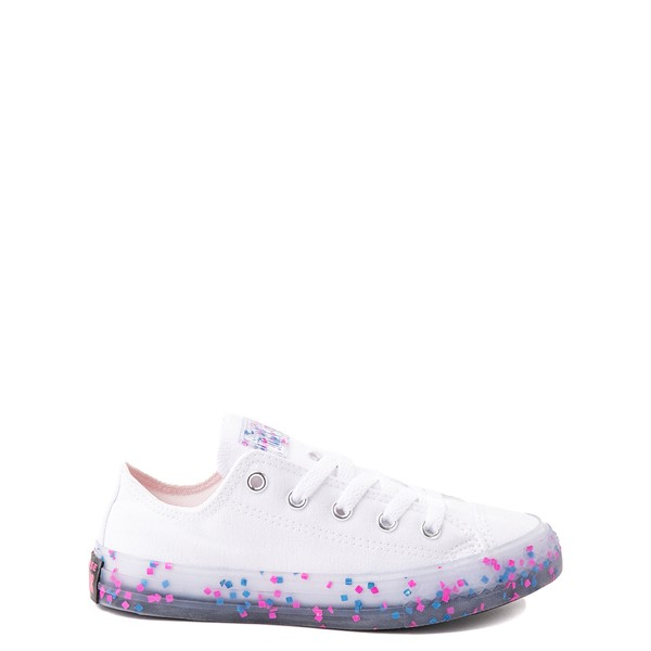 Converse Chuck Taylor All Star Lo Stuff Inside Sneaker - Little Kid / Big Kid - White / Bold Pink