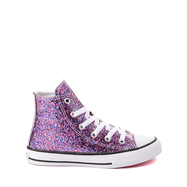 Converse Chuck Taylor All Star Hi Glitter Sneaker - Little Kid / Big Kid - Bold Pink
