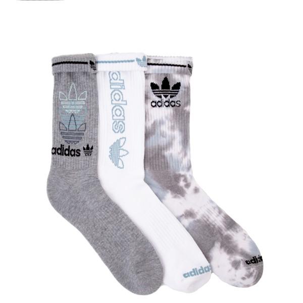 alternate view Mens adidas Clear Wash Crew Socks 3 Pack - Gray / WhiteALT1