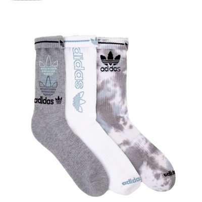 Alternate view of Mens adidas Clear Wash Crew Socks 3 Pack - Gray / White