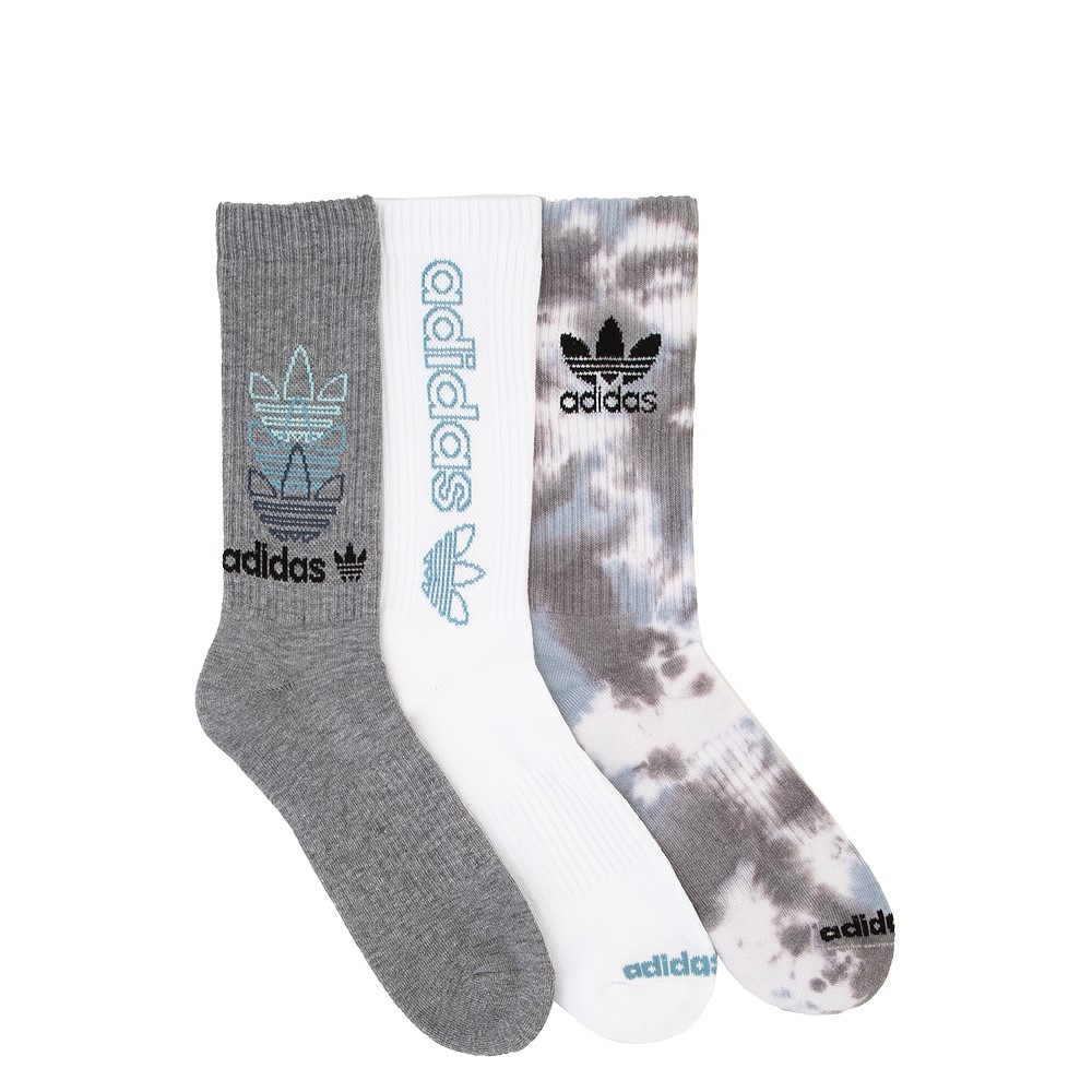 Mens adidas Clear Wash Crew Socks 3 Pack - Gray / White