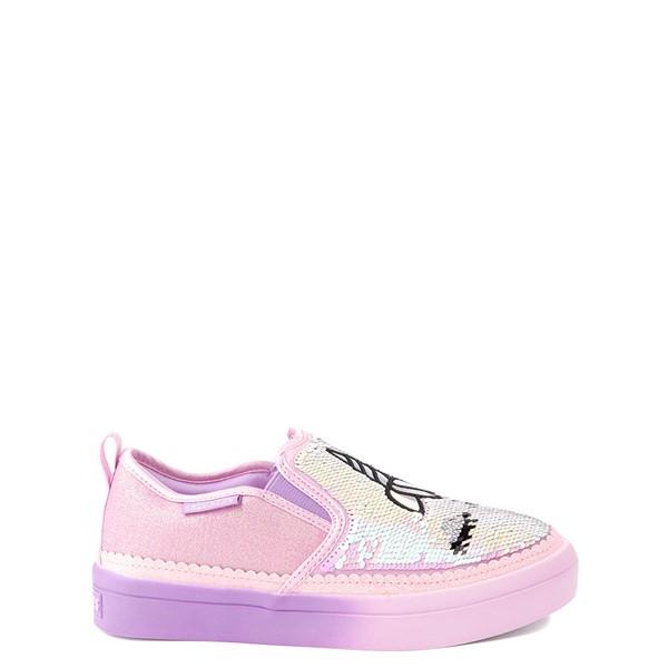alternate view Skechers Flip Kicks Twi-Lights Unicorn Daydreams Slip On Sneaker - Little Kid - Pink / SilverALT1