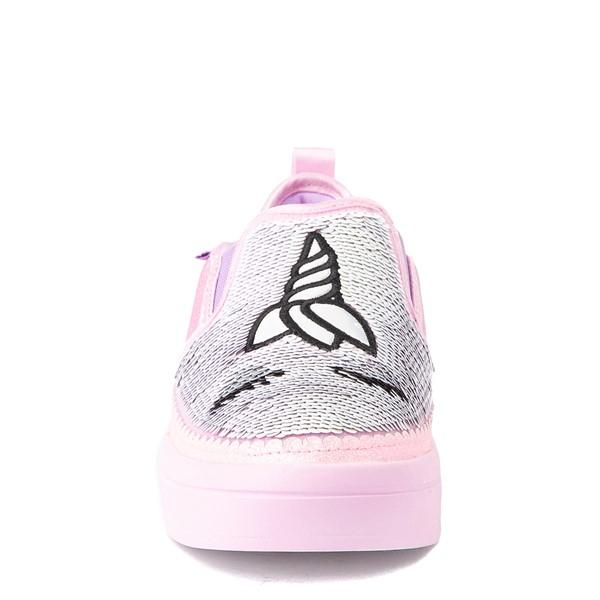 alternate view Skechers Flip Kicks Twi-Lights Unicorn Daydreams Slip On Sneaker - Little Kid - Pink / SilverALT4