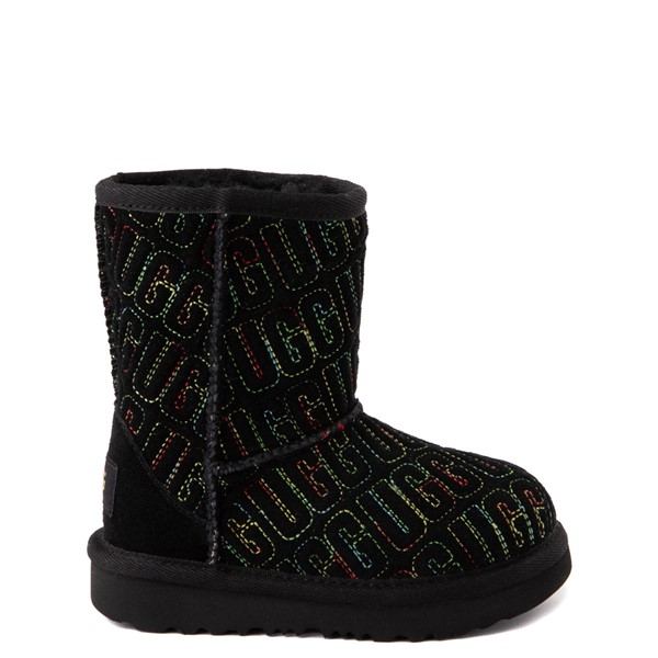 Main view of UGG® Classic II Graphic Stitch Boot - Toddler / Little Kid - Black / Rainbow