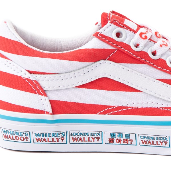 alternate view Vans x Where's Waldo Old Skool International Stripes Skate Shoe - Little Kid - White / RedALT1