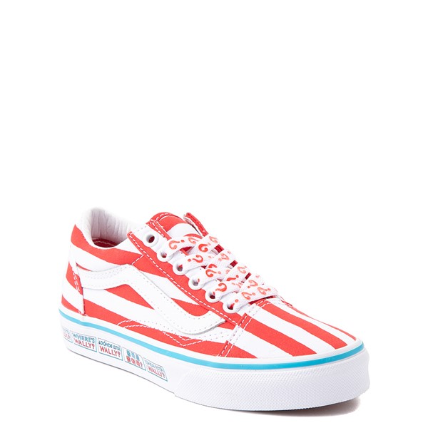 alternate view Vans x Where's Waldo Old Skool International Stripes Skate Shoe - Little Kid - White / RedALT1C