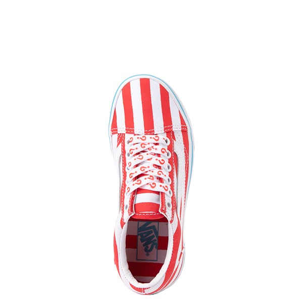alternate view Vans x Where's Waldo Old Skool International Stripes Skate Shoe - Little Kid - White / RedALT2