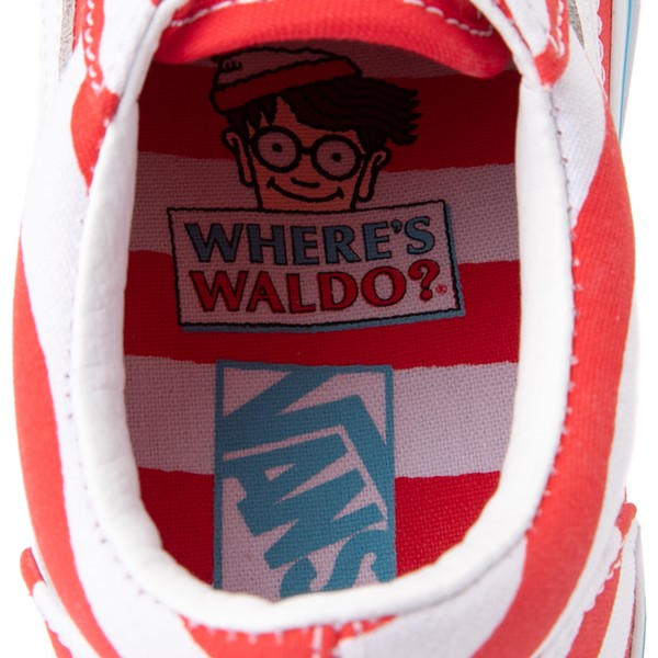 alternate view Vans x Where's Waldo Old Skool International Stripes Skate Shoe - Little Kid - White / RedALT6