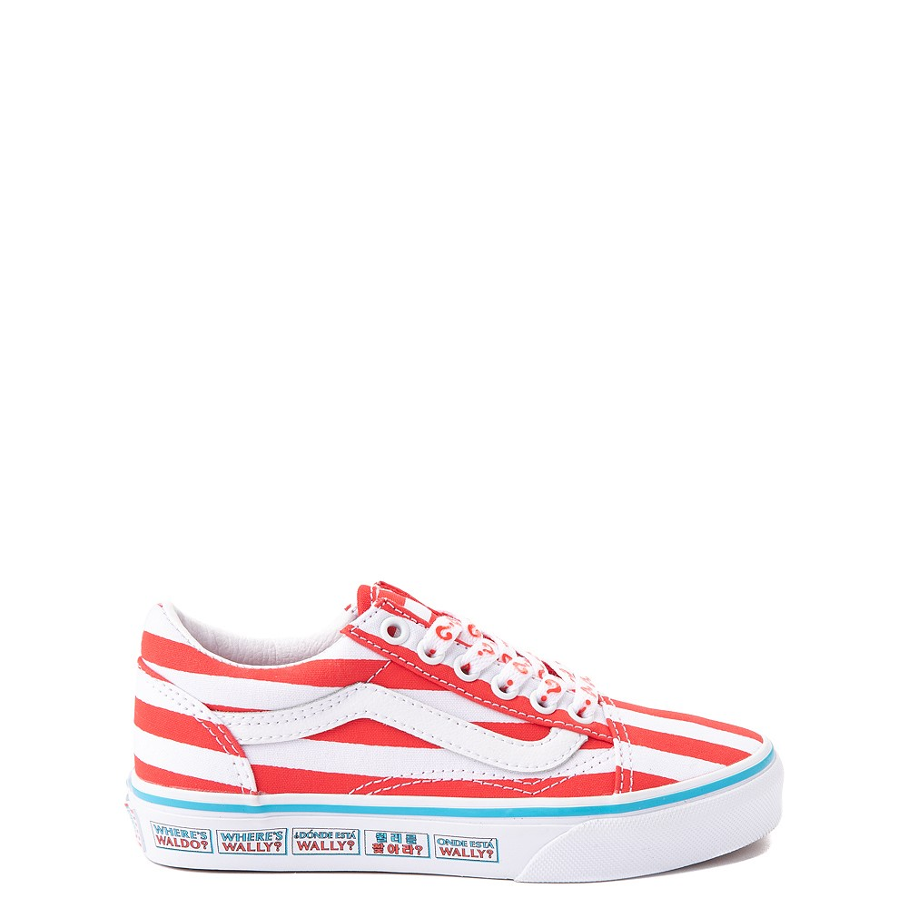 Vans x Where's Waldo Old Skool International Stripes Skate Shoe - Little Kid - White / Red