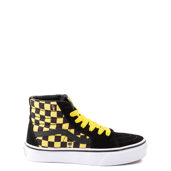 Vans x Where's Waldo Sk8 Hi Odlaw Checkerboard Skate Shoe - Little Kid - Black / Yellow