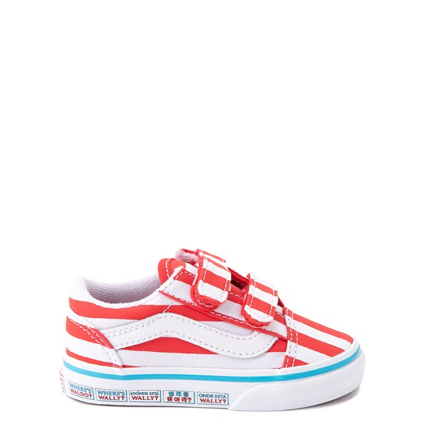 Vans x Where's Waldo Old Skool V International Stripes Skate Shoe - Baby / Toddler - White / Red