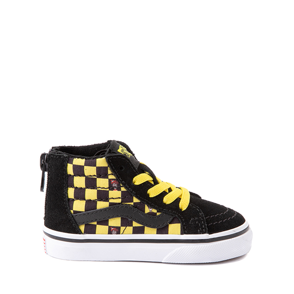 Vans x Where's Waldo Sk8 Hi Zip Odlaw Checkerboard Skate Shoe - Baby / Toddler - Black / Yellow