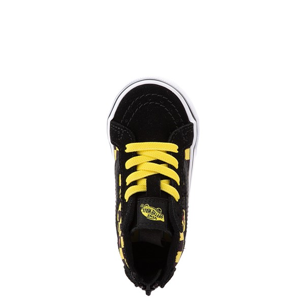 alternate view Vans x Where's Waldo Sk8 Hi Zip Odlaw Checkerboard Skate Shoe - Baby / Toddler - Black / YellowALT4B