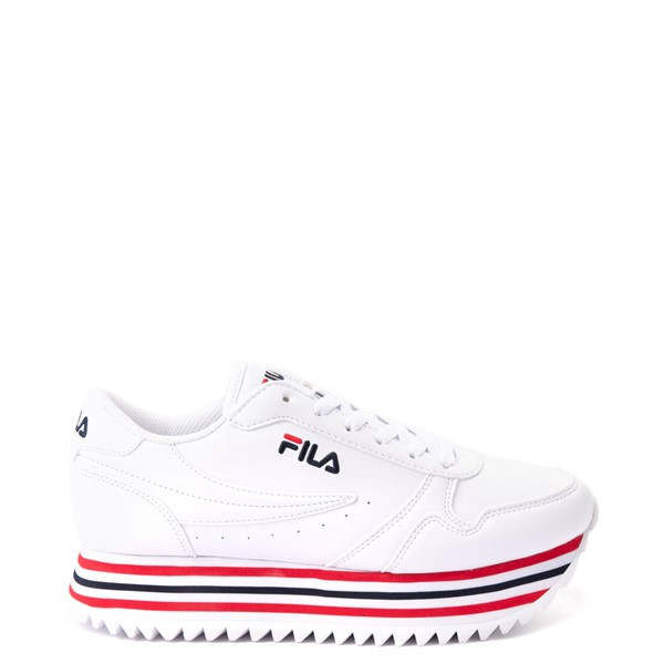 Womens Fila Orbit Stripe Athletic Shoe - White / Navy / Red