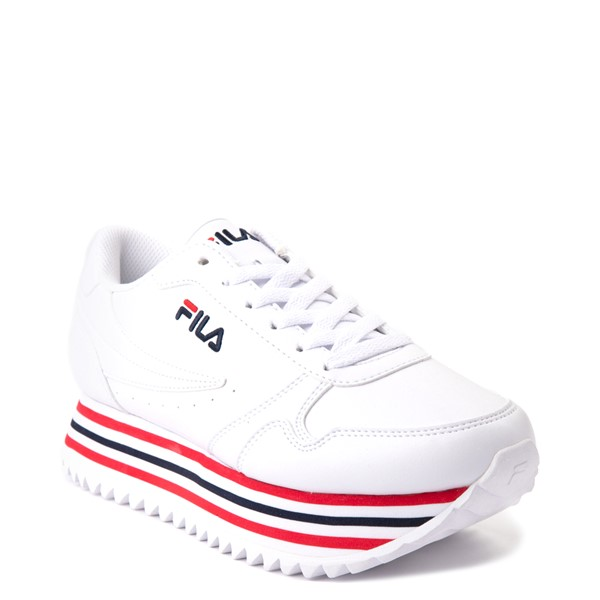 alternate view Womens Fila Orbit Stripe Athletic Shoe - White / Navy / RedALT5