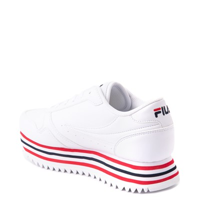 Alternate view of Womens Fila Orbit Stripe Athletic Shoe - White / Navy / Red