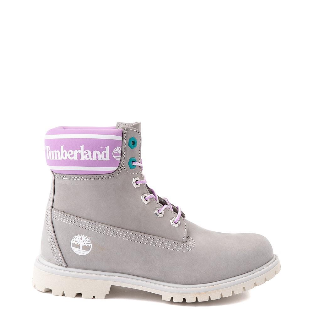 """Womens Timberland 6"""" Premium Boot - Gray / Pink"""