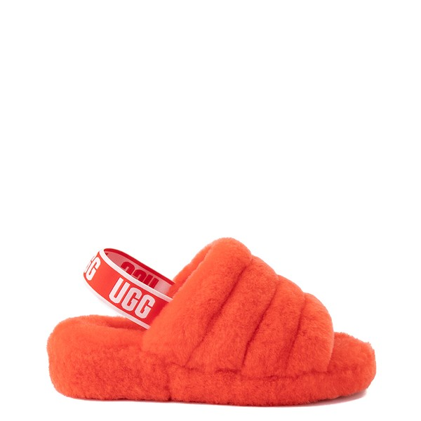 Womens UGG® Fluff Yeah Slide Sandal - Red Currant