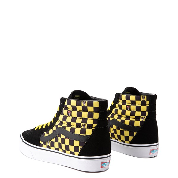 alternate view Vans x Where's Waldo Sk8 Hi Odlaw Checkerboard Skate Shoe - Black / YellowALT1