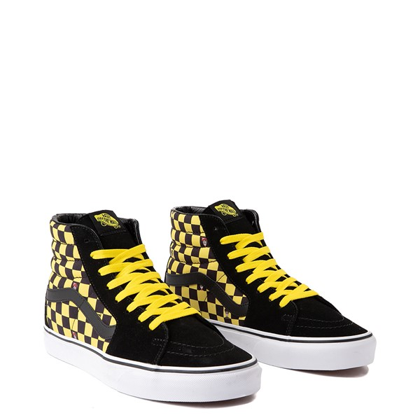 alternate view Vans x Where's Waldo Sk8 Hi Odlaw Checkerboard Skate Shoe - Black / YellowALT1B-2