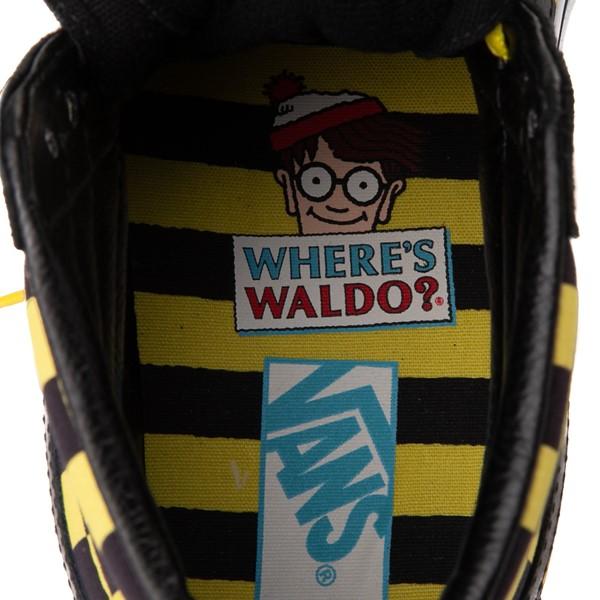 alternate view Vans x Where's Waldo Sk8 Hi Odlaw Checkerboard Skate Shoe - Black / YellowALT2C