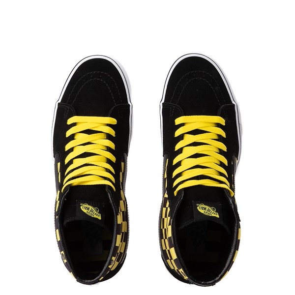 alternate view Vans x Where's Waldo Sk8 Hi Odlaw Checkerboard Skate Shoe - Black / YellowALT4B