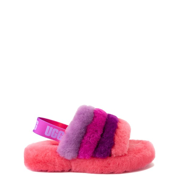Main view of UGG® Fluff Yeah Slide Sandal - Little Kid / Big Kid - Pink / Purple Rainbow