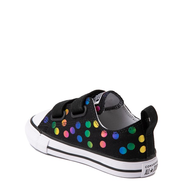 alternate view Converse Chuck Taylor All Star 2V Lo Confetti Dots Sneaker - Baby / Toddler - Black / RainbowALT1