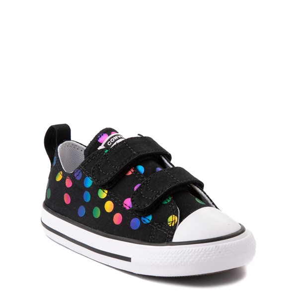 alternate view Converse Chuck Taylor All Star 2V Lo Confetti Dots Sneaker - Baby / Toddler - Black / RainbowALT5