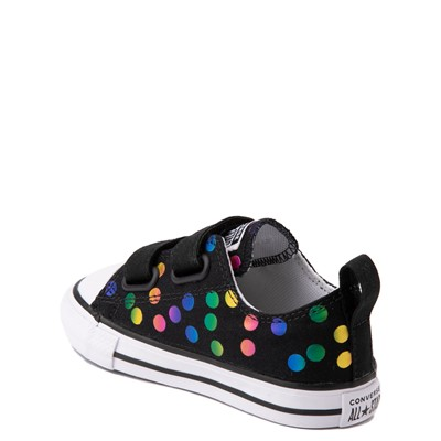 Alternate view of Converse Chuck Taylor All Star 2V Lo Confetti Dots Sneaker - Baby / Toddler - Black / Rainbow