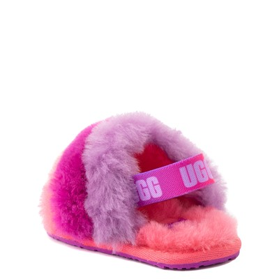 Alternate view of UGG® Fluff Yeah Slide Sandal - Baby / Toddler - Pink / Purple Rainbow