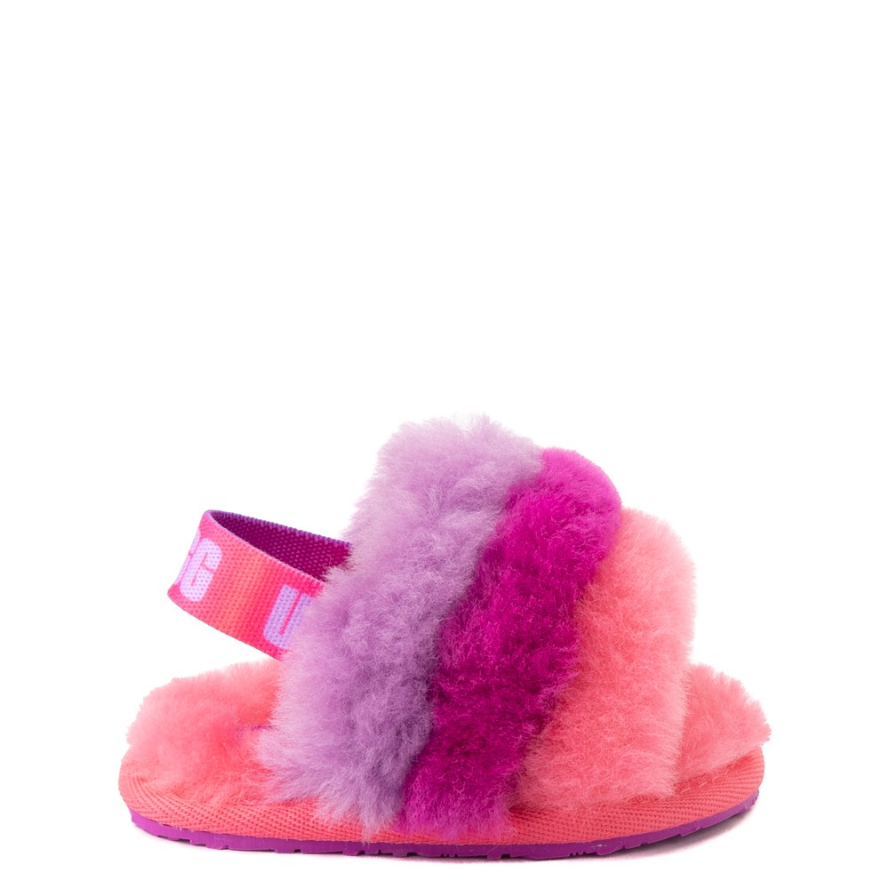 UGG® Fluff Yeah Slide Sandal - Baby / Toddler - Pink / Purple Rainbow
