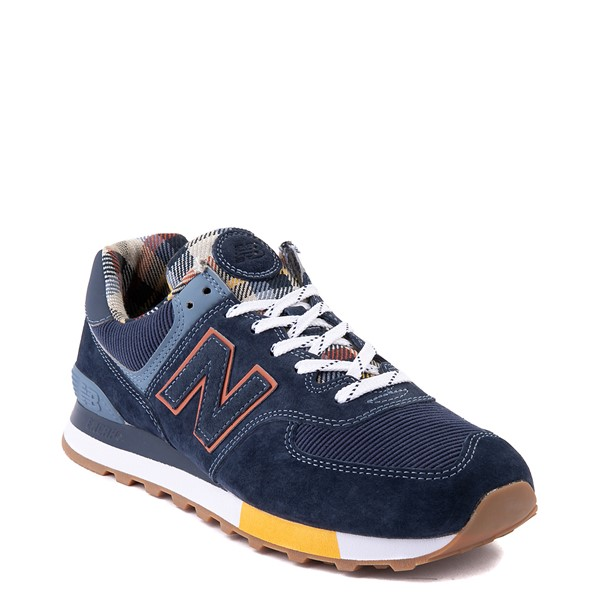 alternate view Mens New Balance 574 Athletic Shoe - Natural Indigo / PlaidALT5