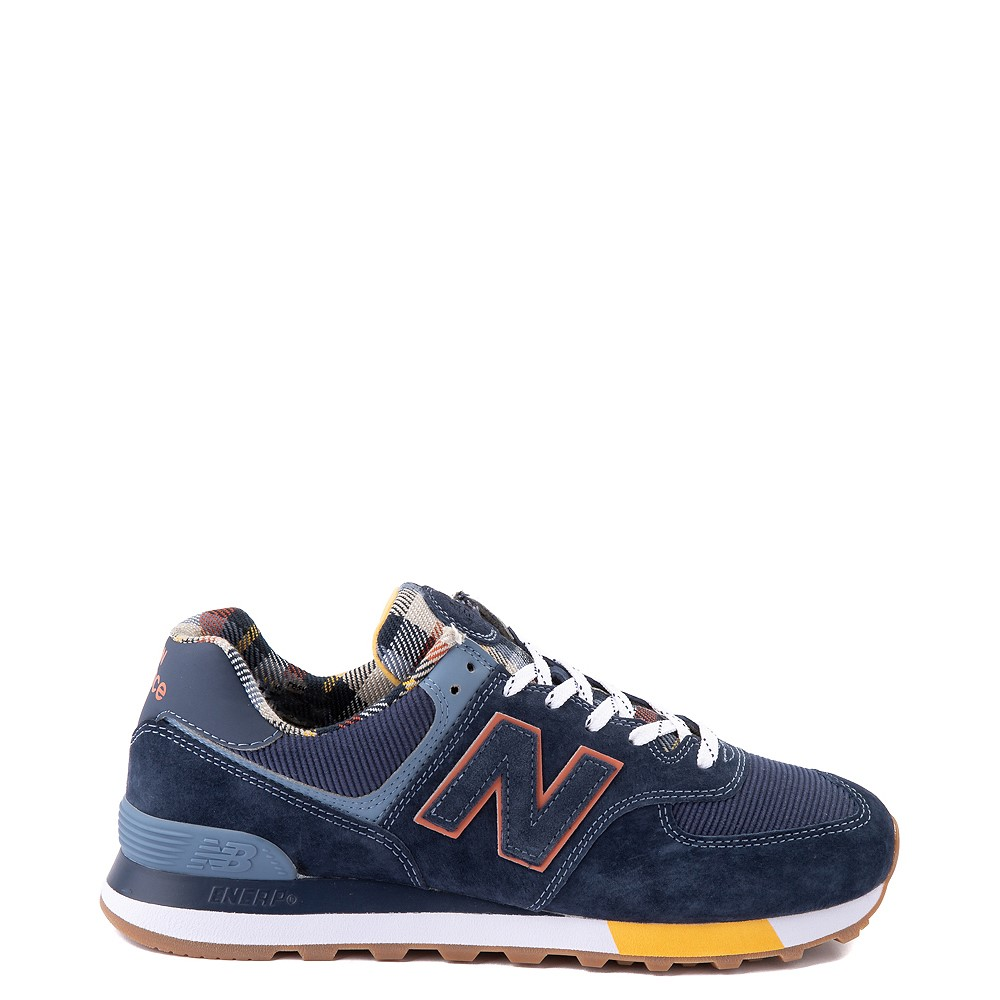 Mens New Balance 574 Athletic Shoe - Natural Indigo / Plaid