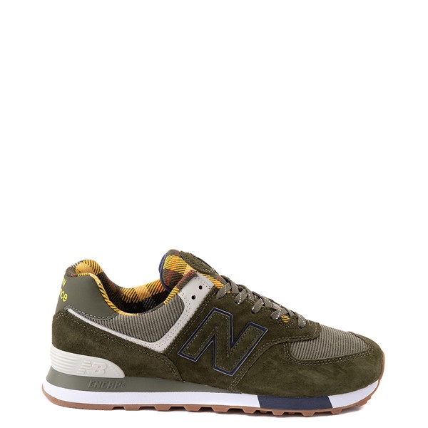 Main view of Mens New Balance 574 Athletic Shoe - Oakleaf Green / Plaid
