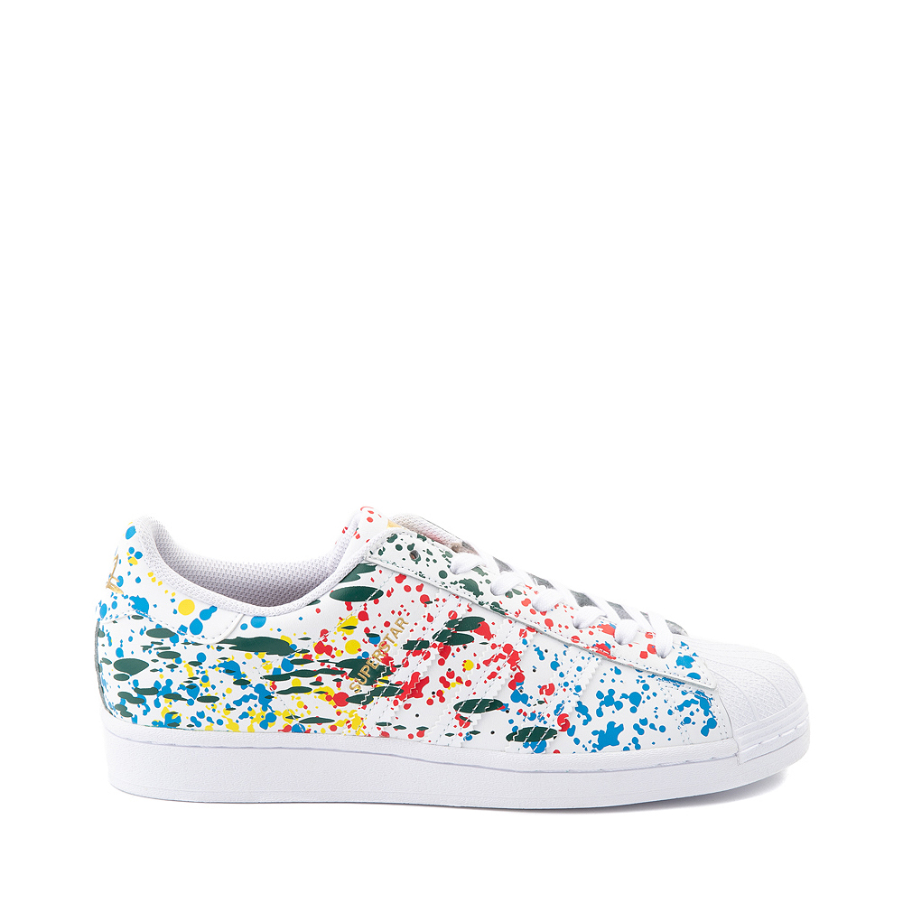 Mens adidas Superstar Paint Splatter Athletic Shoe - White