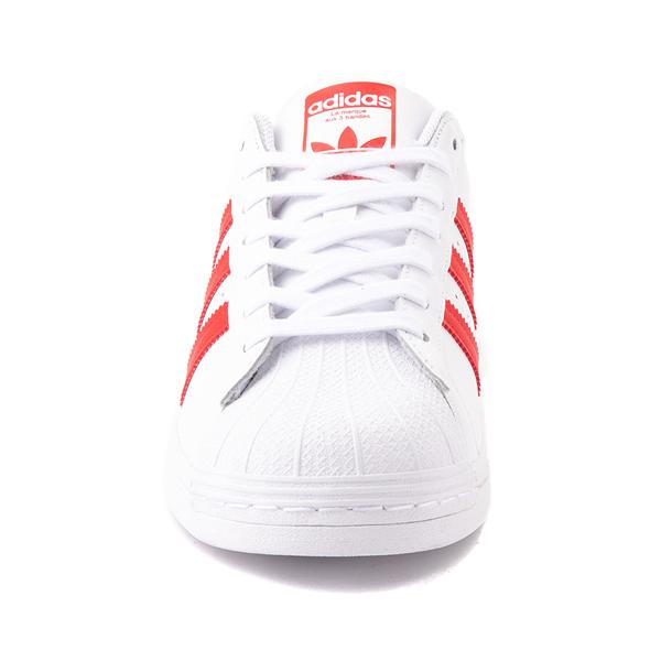 alternate view adidas Superstar Athletic Shoe - White / Vivid RedALT4