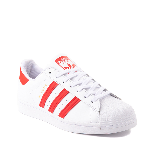 alternate view adidas Superstar Athletic Shoe - White / Vivid RedALT5