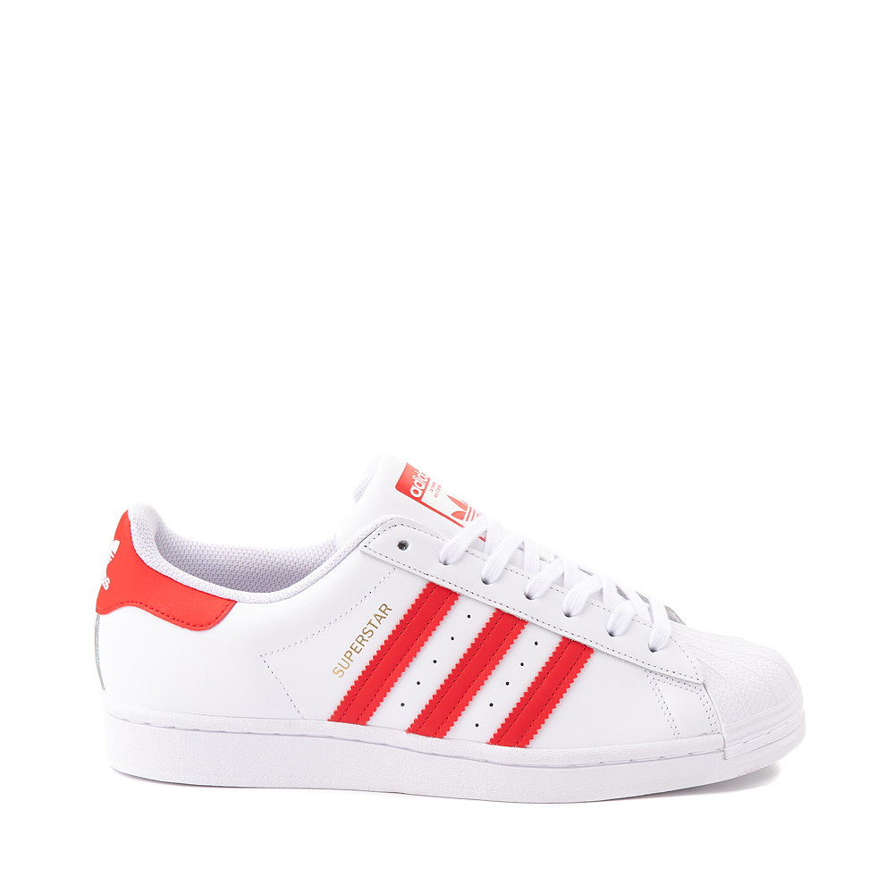 Mens adidas Superstar Athletic Shoe - White / Vivid Red