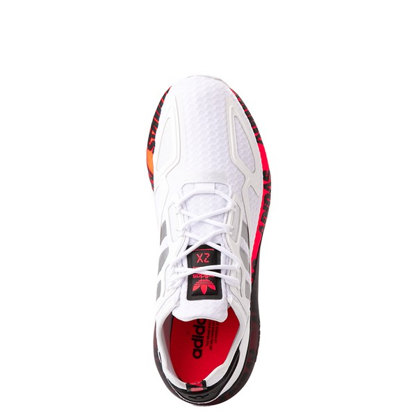 alternate view Mens adidas ZX 2K Boost Athletic Shoe - White / Solar RedALT2