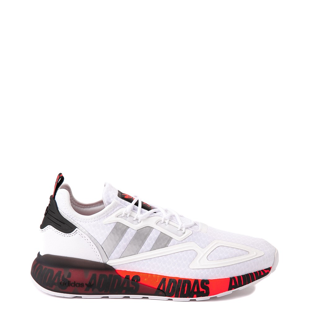 Mens adidas ZX 2K Boost Athletic Shoe - White / Solar Red