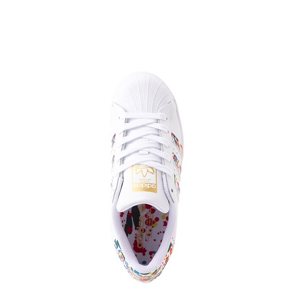 alternate view adidas Superstar Paint Splatter Athletic Shoe - Big Kid - WhiteALT2