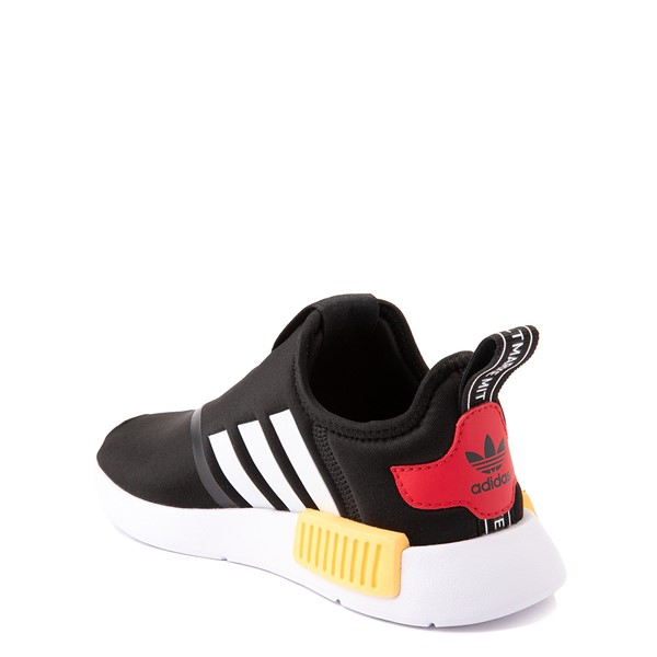 alternate view adidas NMD 360 Slip On Athletic Shoe - Little Kid - Core Black / Yellow / BlueALT1