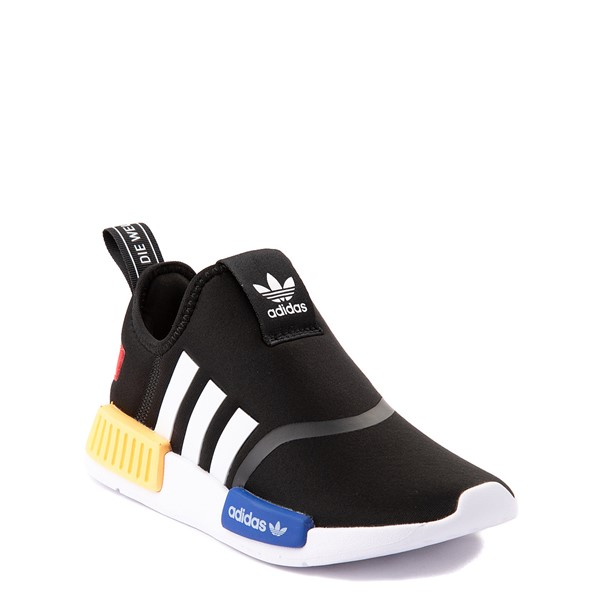 alternate view adidas NMD 360 Slip On Athletic Shoe - Little Kid - Core Black / Yellow / BlueALT5