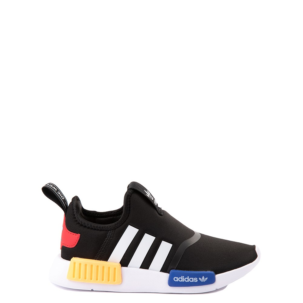 adidas NMD 360 Slip On Athletic Shoe - Little Kid - Core Black / Yellow / Blue
