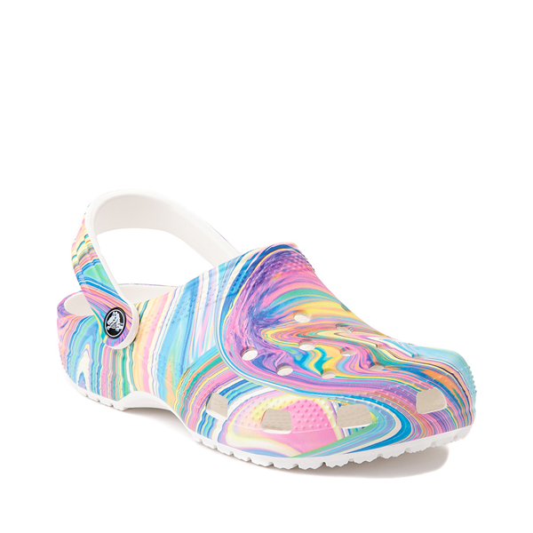 alternate view Crocs Classic Marble Clog - White / Marbled Pastel MulticolorALT5
