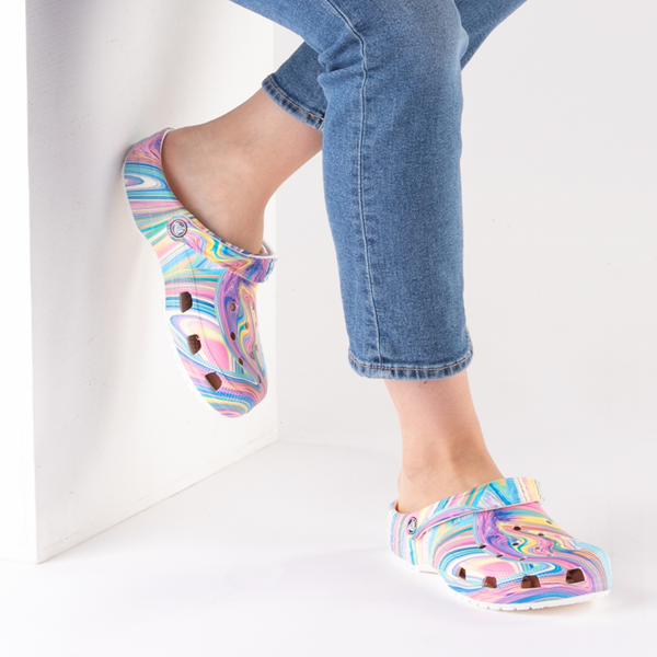 alternate view Crocs Classic Marble Clog - White / Marbled Pastel MulticolorB-LIFESTYLE1