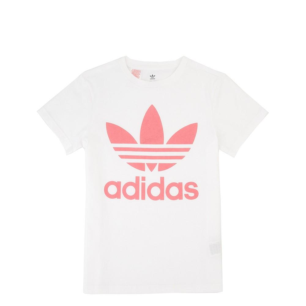 adidas Trefoil Tee - Little Kid / Big Kid - White / Pink